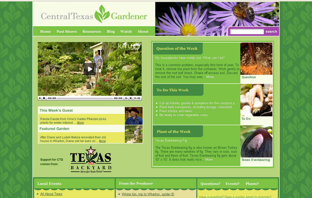 Central Texas Gardener website home page