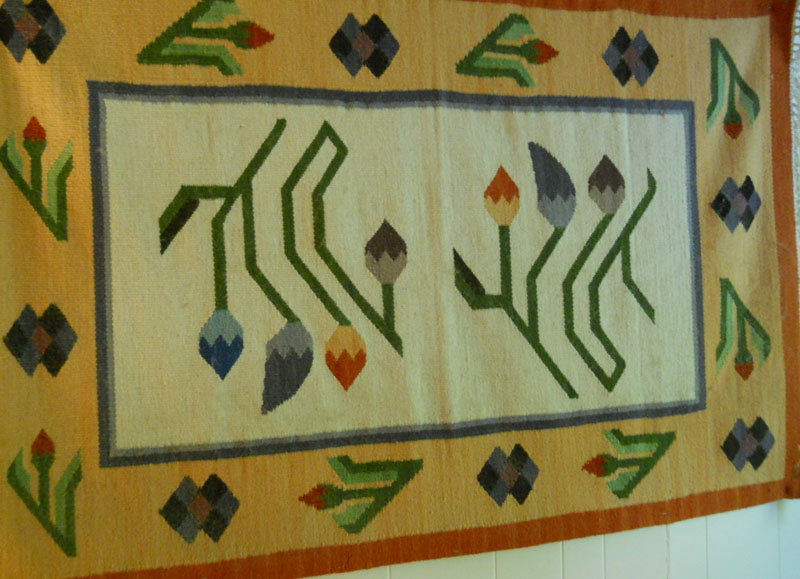 Wall hanging rug with plant and cochineal insect dyes