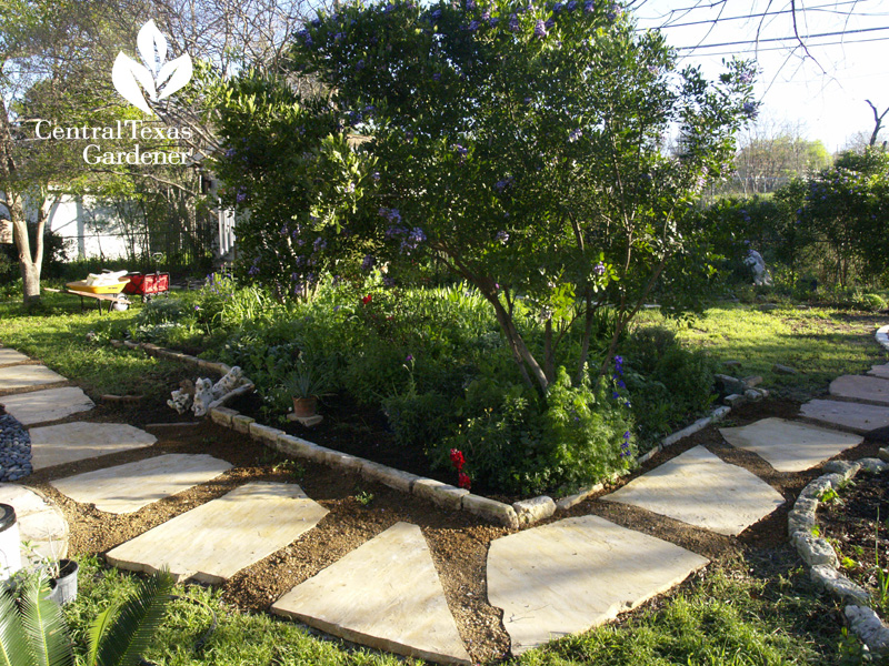stone path with crape and mountain laurel bed (c) Linda Lehmusvirta
