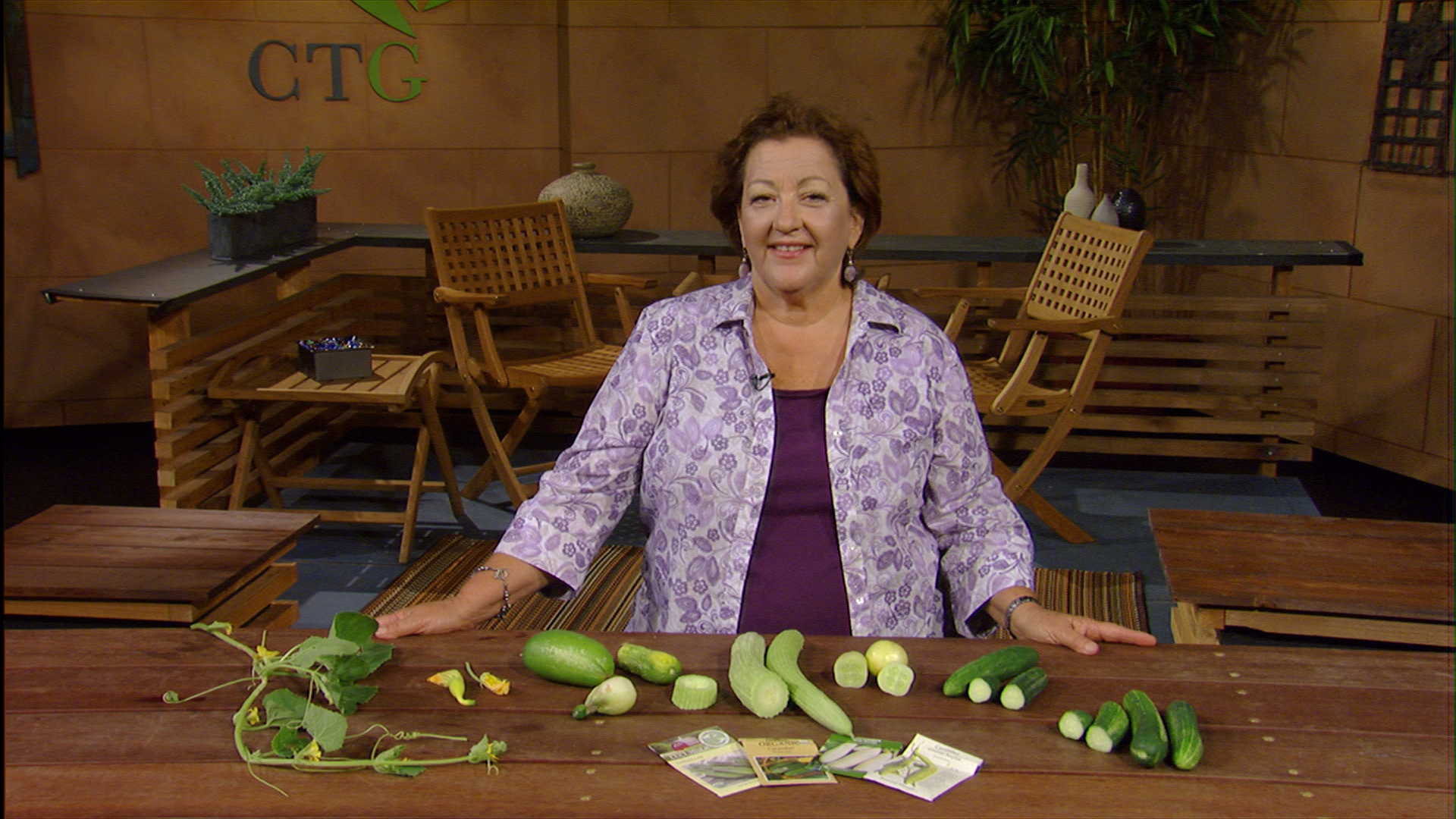 Trisha Shirey picks cucumbers for Central Texas Gardener