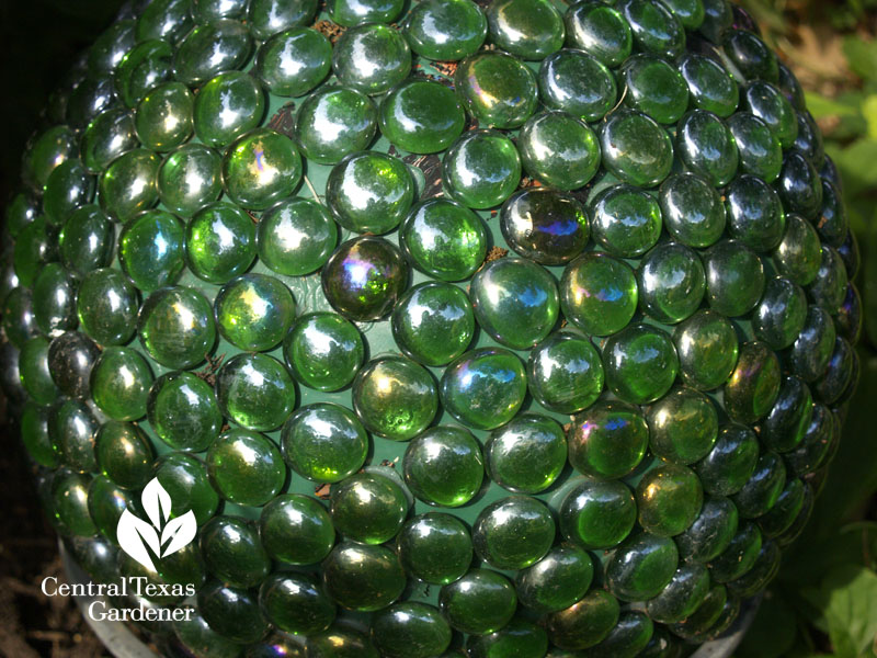 garden art bowling ball with marbles
