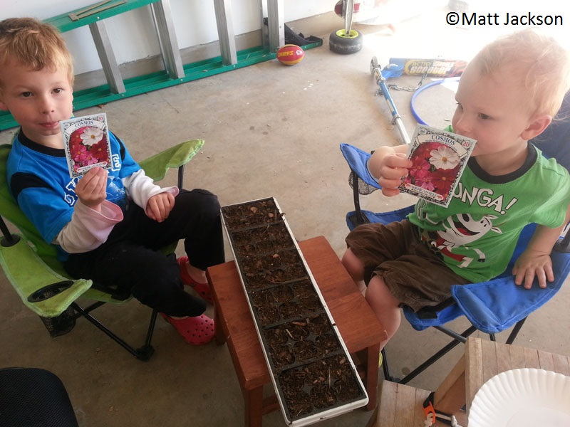 Kids planting seeds with dad Matt Jackson