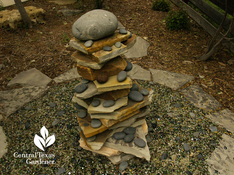 Zen rock sculpture Donna and Mike Fowler Hutto garden Central Texas Gardener