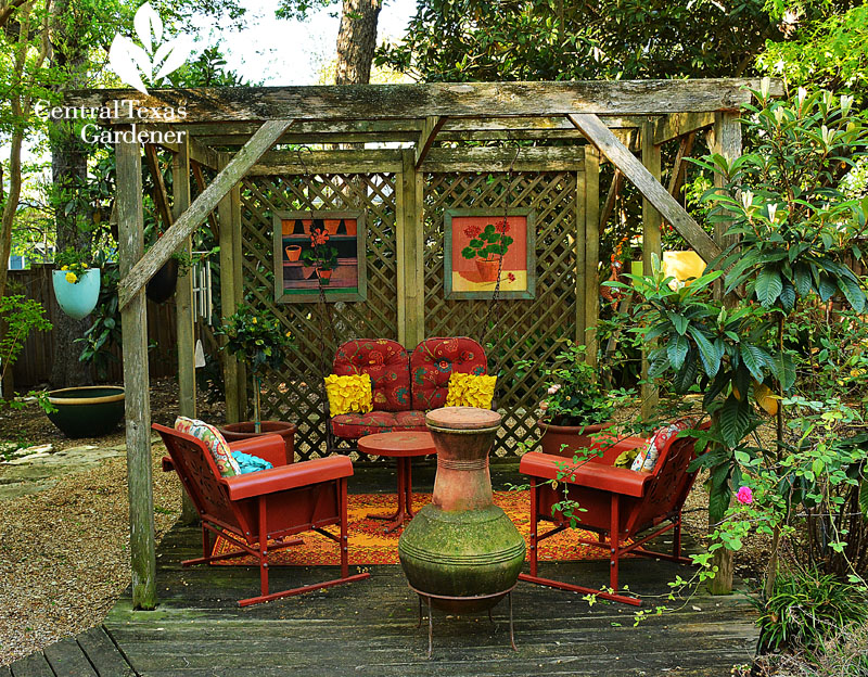 Fun backyard room from recycles Central Texas
