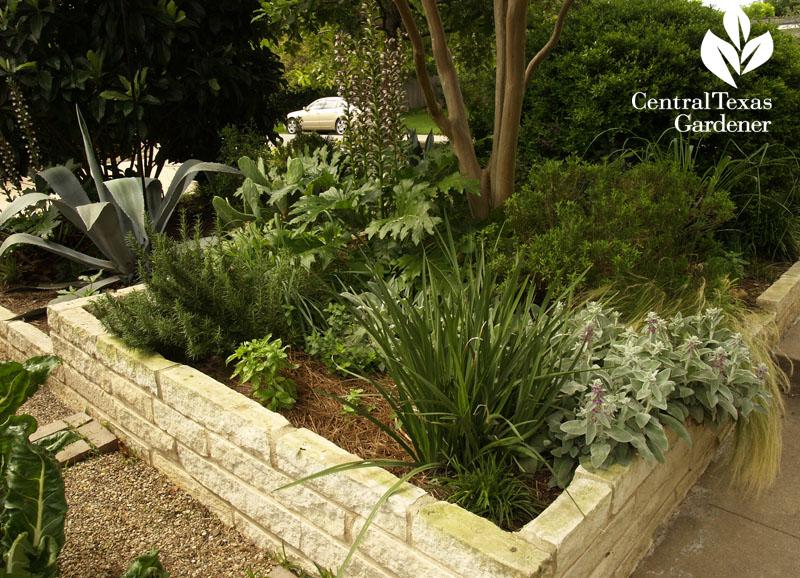 Front garden vegetable gardens stone beds