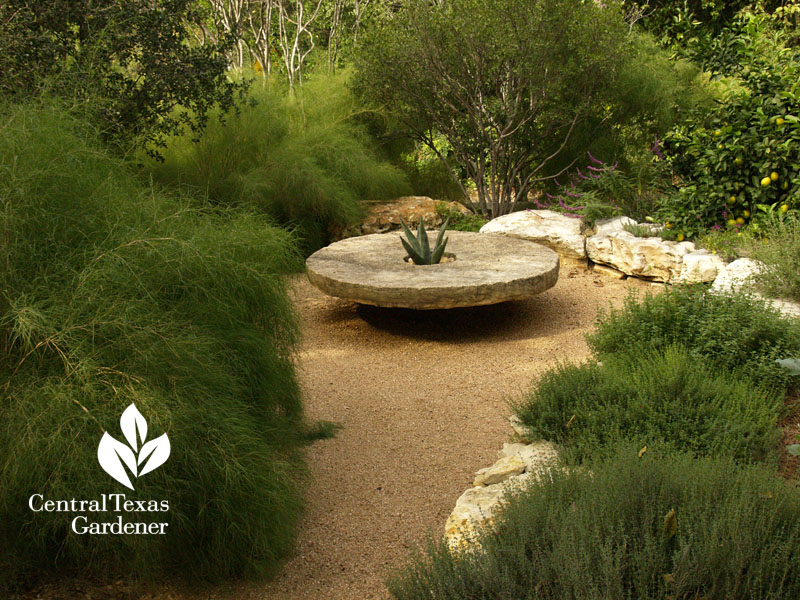Ten Eyck millstone secret garden walls of bamboo muhly