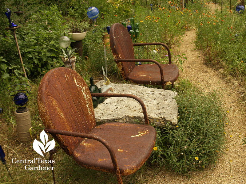rustic chairs wildflower path healing garden central texas gardener