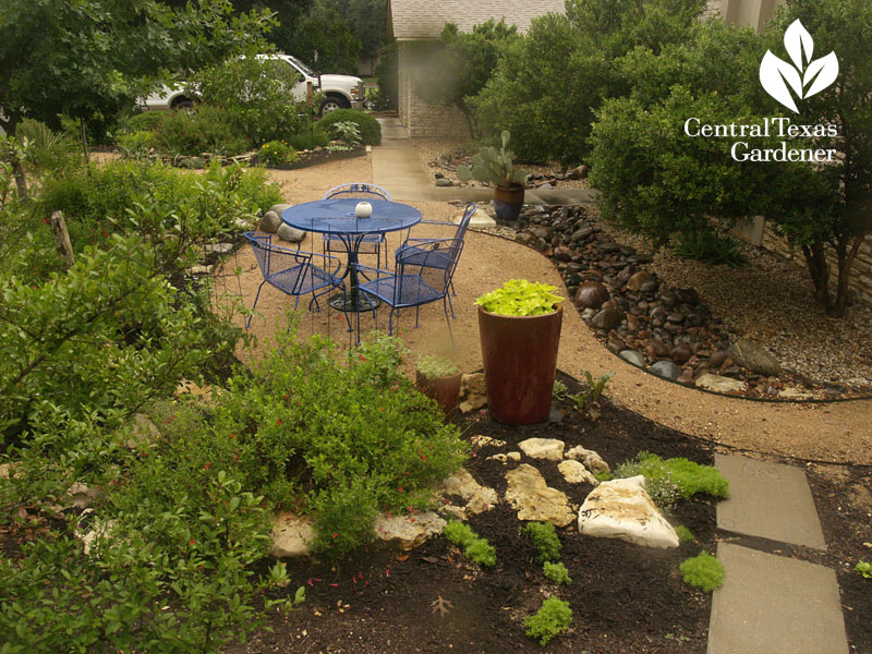 no lawn front garden with dry creek bed central texas gardener