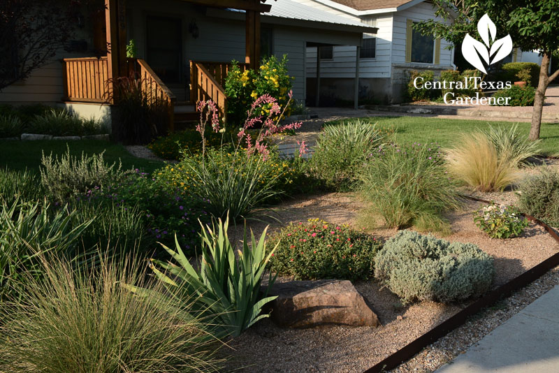 reduced lawn front yard with wildlife plants