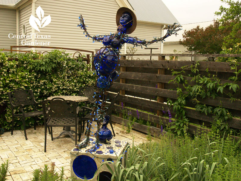blue bottle lady garden art Hutto Central Texas Gardener