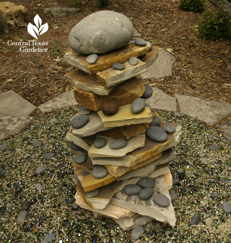 zen sculpture with rocks Hutto Central Texas Gardener