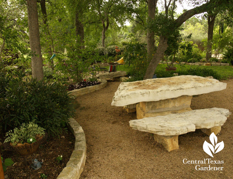 stone table shady garden Central Texas Gardener
