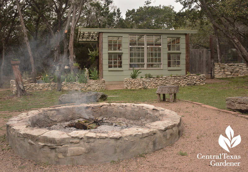 fire pit and handmade greenhouse Liberty Hill Central Texas Gardener