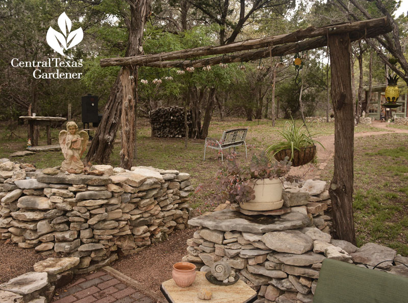homemade cedar arbor Liberty Hill pond and patio Central Texas Gardener