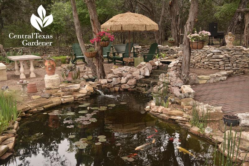 Garden With Ponds Homemade Bamboo Shoots Central Texas