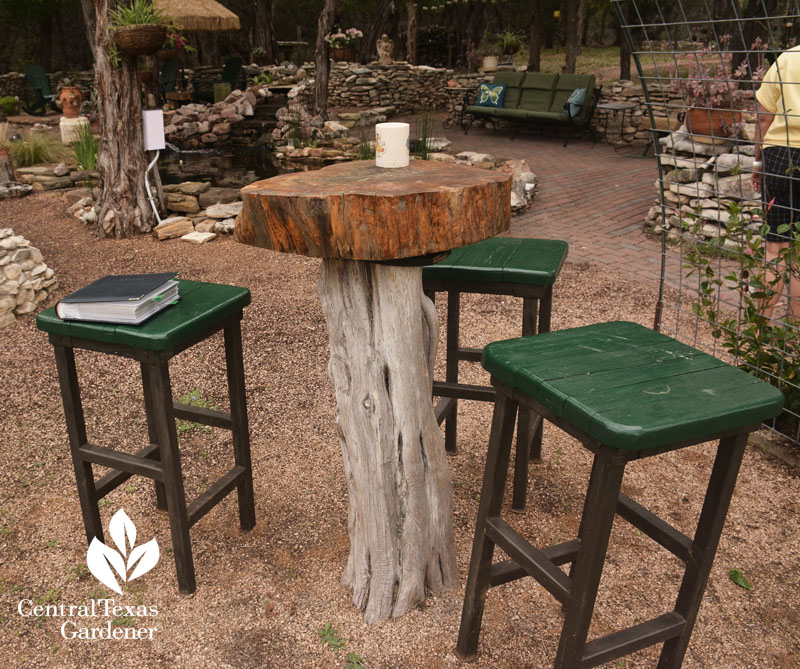 recycled cedar and cypress cafe table central texas gardener