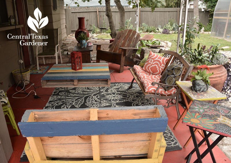 stained concrete pallet furniture outdoor patio Central Texas Gardener