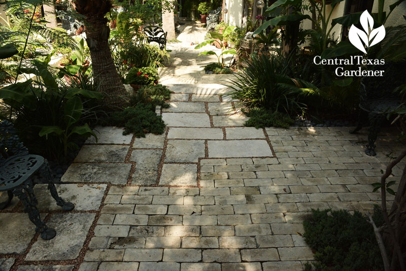 brick and limestone pathway garden room Central Texas Gardener