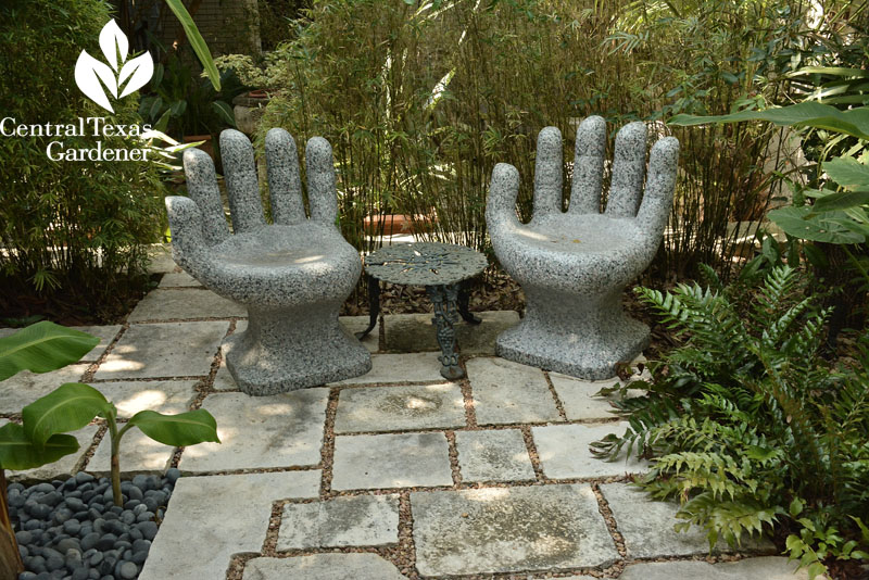 hands chairs garden patio room Central Texas Gardener