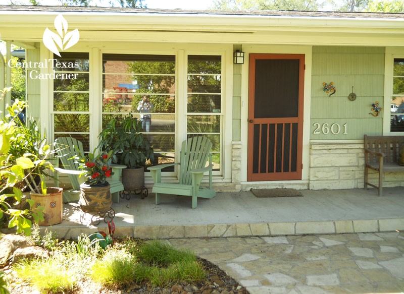 Bungalow comfy front porch Central Texas Gardener
