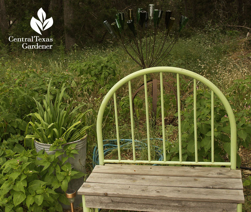 cute garden bench from recycled materials Central Texas Gardener