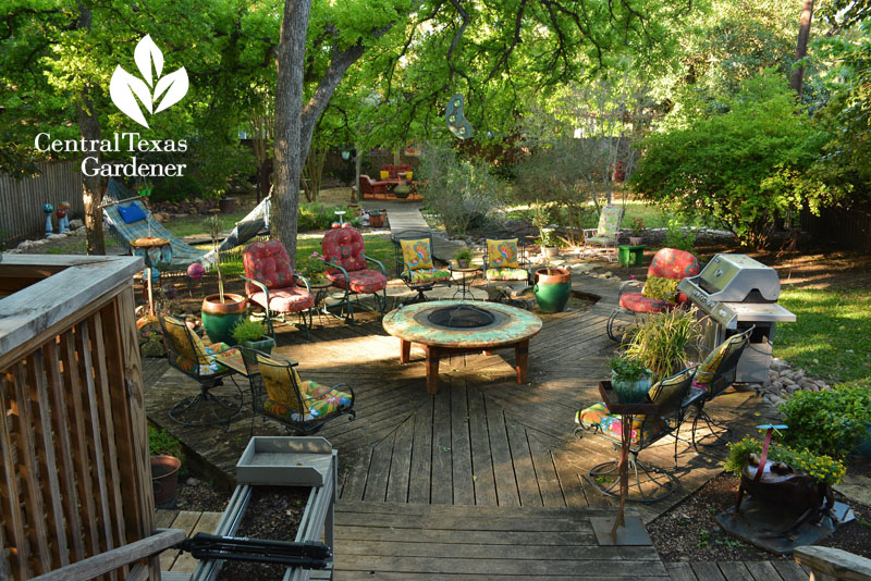 patio deck with recycles and firepit Central Texas Gardener