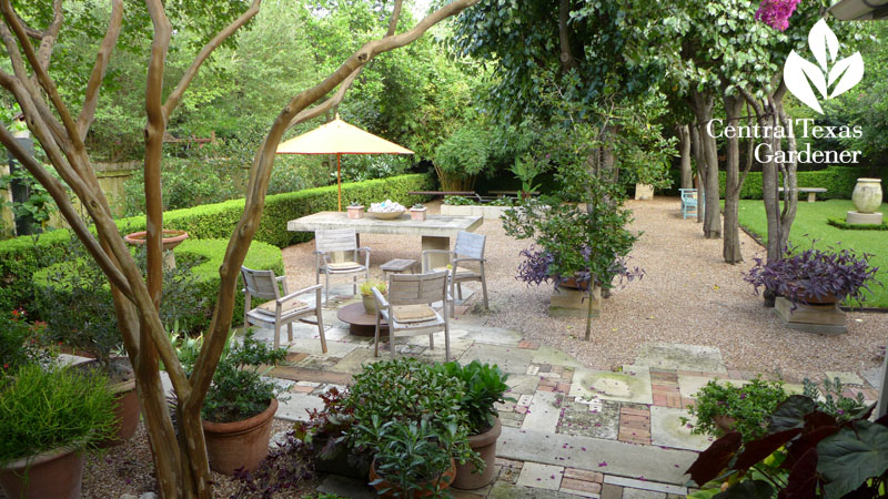 serene multi texture small garden patio Central Texas Gardener
