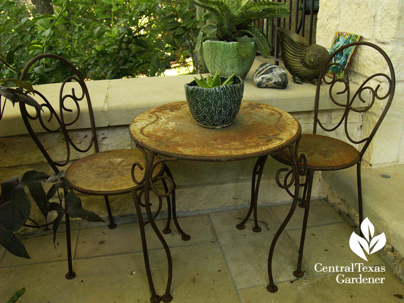 cafe table tiny patio Central Texas Gardener