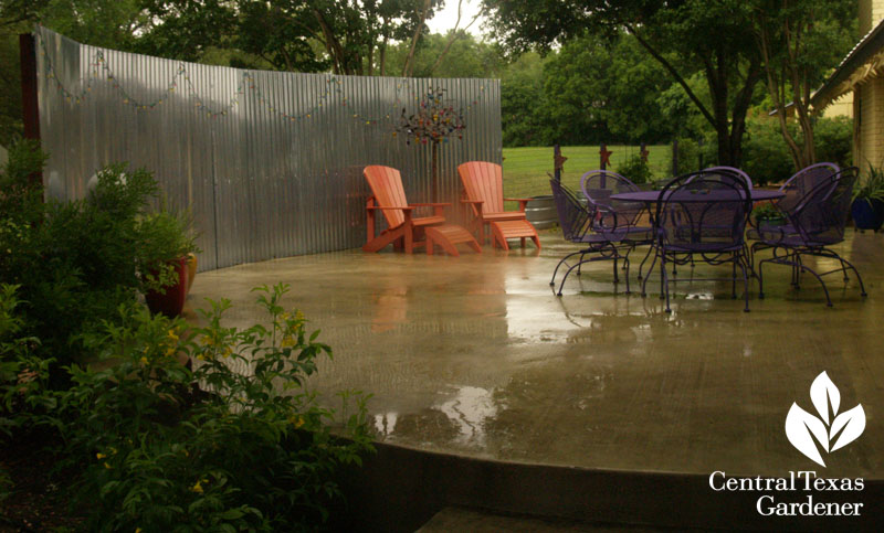 galvanized panel for patio privacy Central Texas Gardener