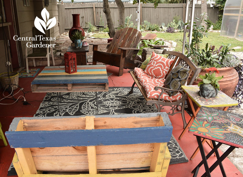 pallet furniture stained concrete chic patio Central Texas Gardener