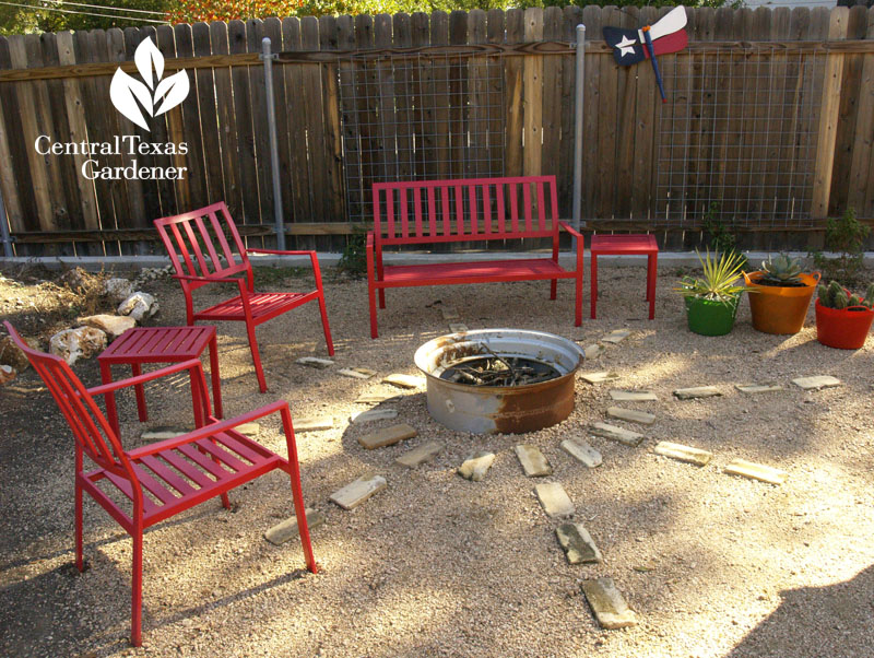 chic patio decomposed granite recycled firepit Central Texas Gardener