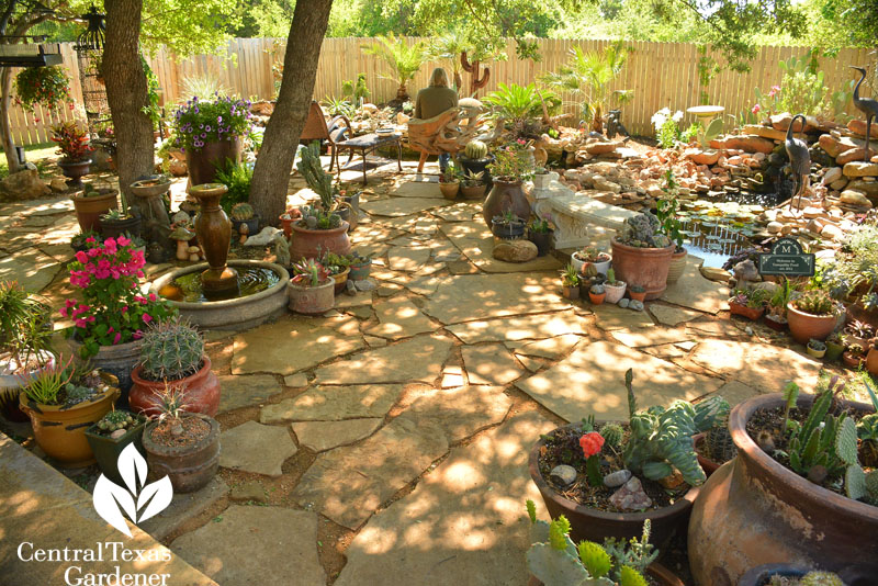 flagstone patio in shade with pond Central Texas Gardener