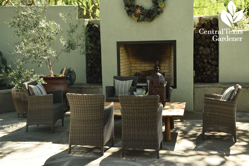outdoor patio dining fireplace Central Texas Gardener