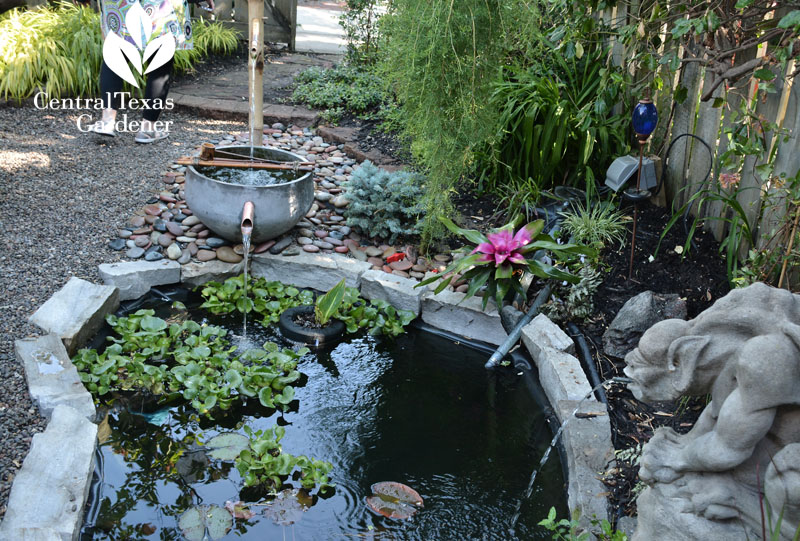 Cute recycled kettle pond fountain Central Texas Gardener
