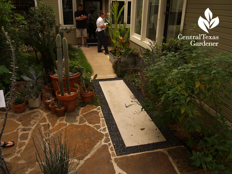 diverse materials stylisth patio and path Central Texas Gardener