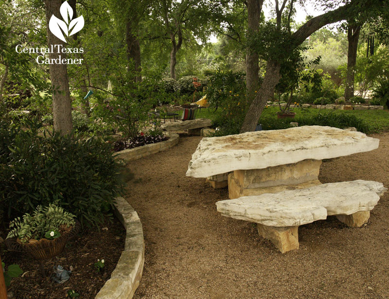 stone bench and table backyard living room Central Texas Gardener