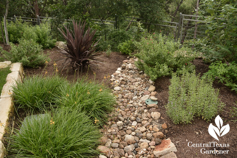 dry creek bed back of garden Central Texas Gardener
