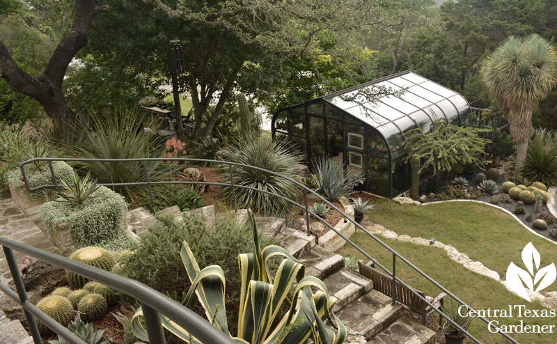 upper deck limestone patio view to greenhouse Pavlat Central Texas Gardener