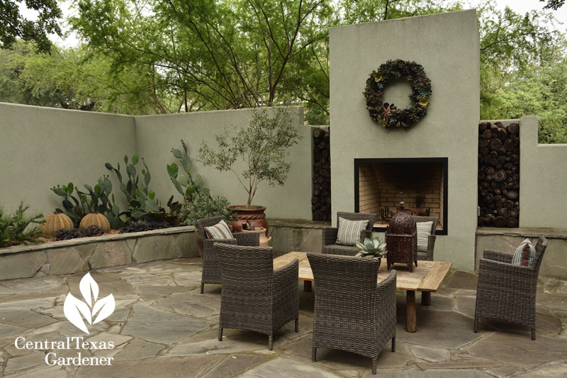 courtyard and outdoor fireplace dining room Central Texas Gardener