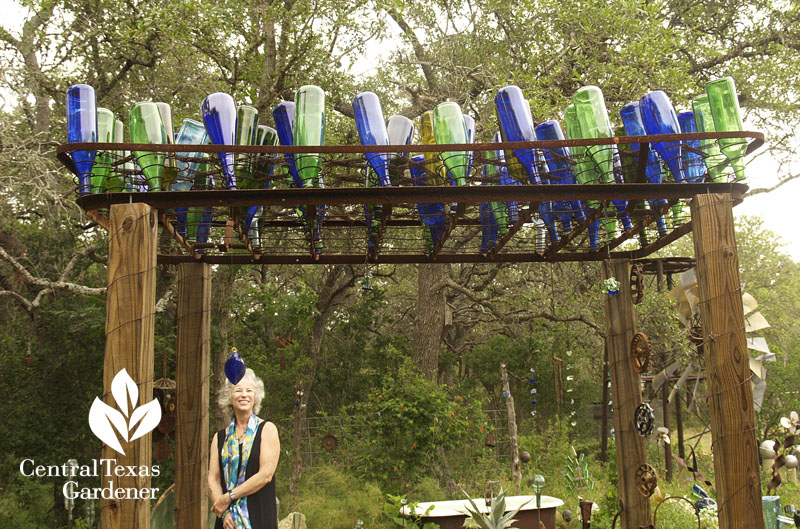 bottle tree arbor old bedspring Elayne Lansford Central Texas Gardener
