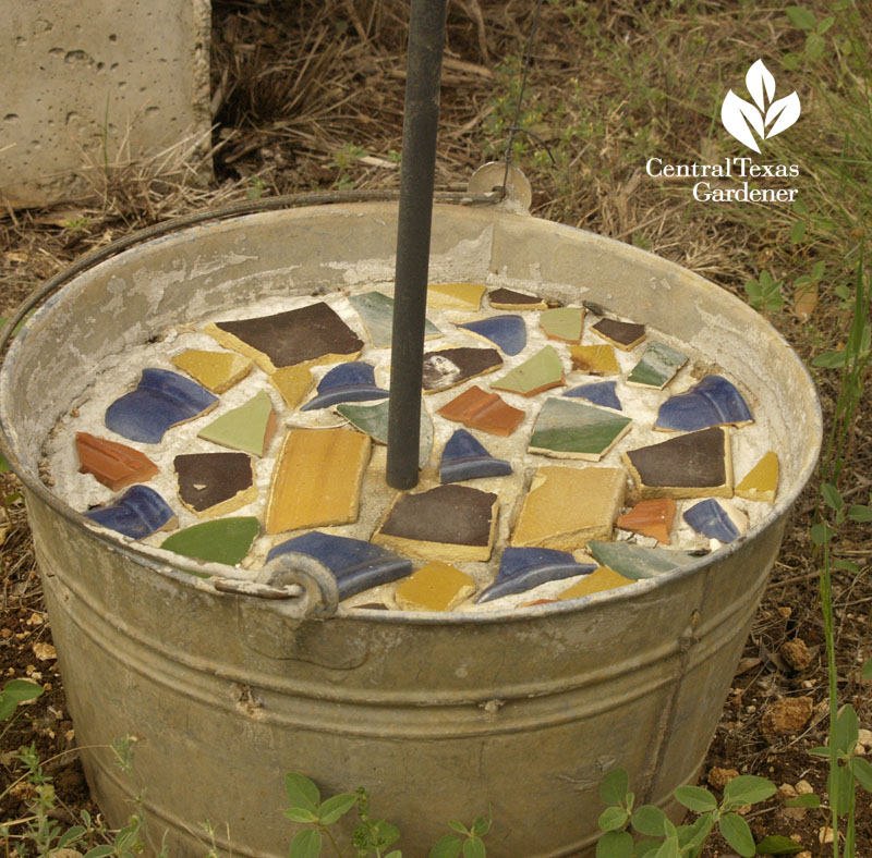 mosaic and cement container support for rebar post Central Texas Gardener
