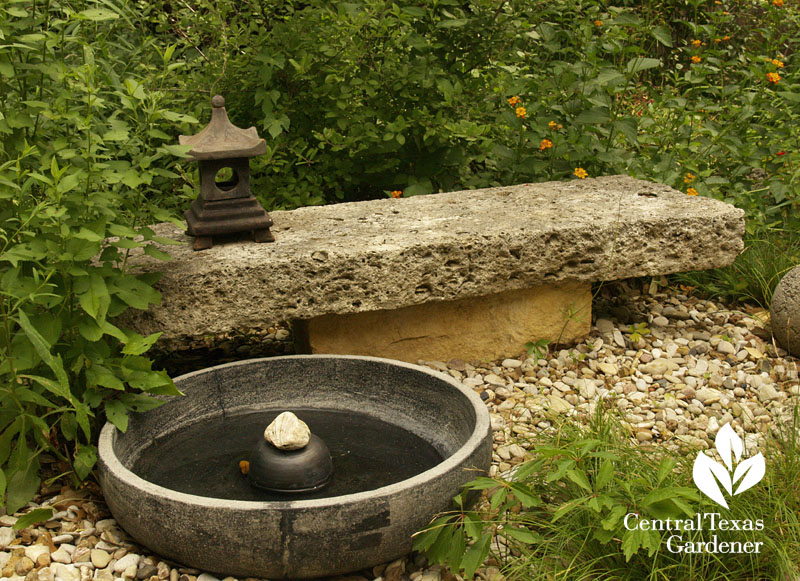 water fountain Zen garden Elayne Lansford Central Texas Gardener