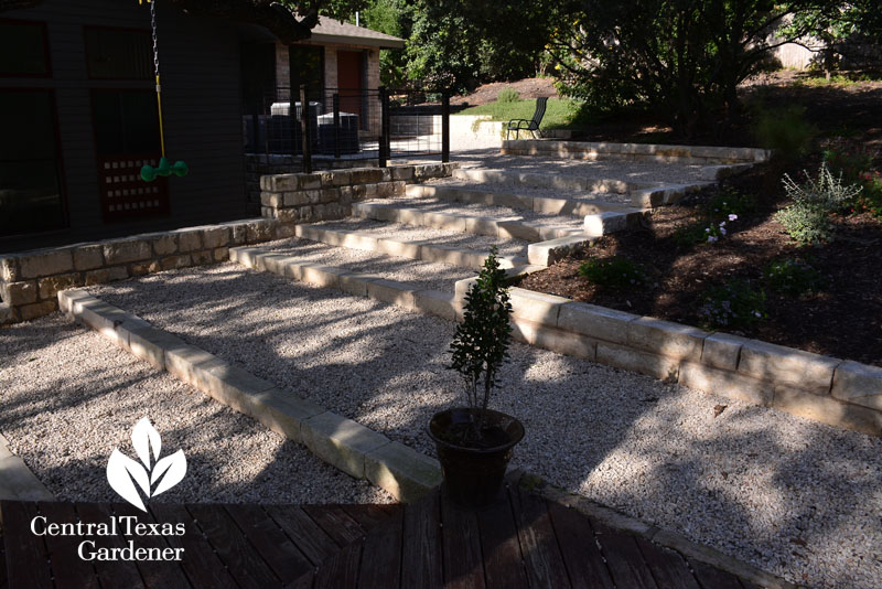 limestone steps patio water control Central Texas Gardener