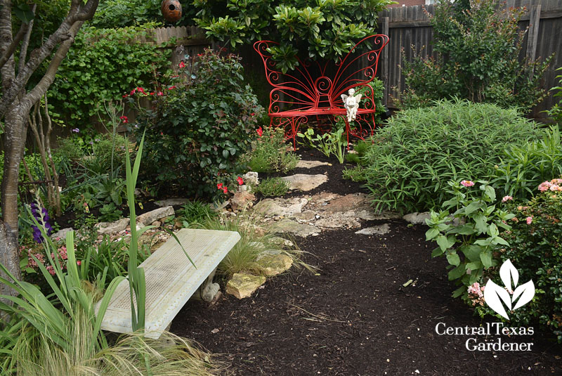 bench nook in small space garden Central Texas Gardener