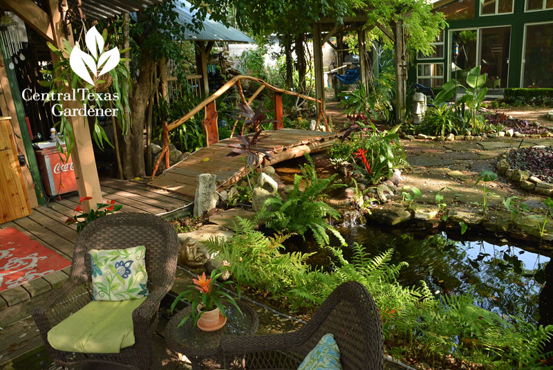 Patio, bridge, backyard pond Central Texas Gardener