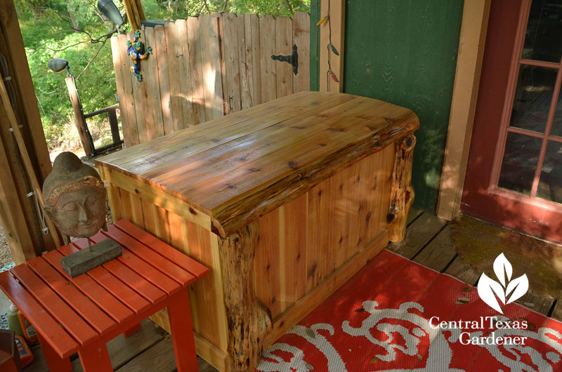 cedar over plastic storage bin DIY Central Texas Gardener