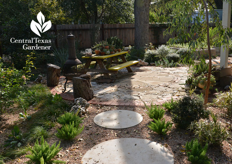 concrete rounds path to flagstone patio Central Texas Gardener