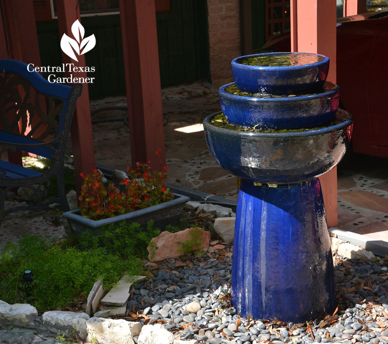 fountain from blue ceramic containers Central Texas Gardener