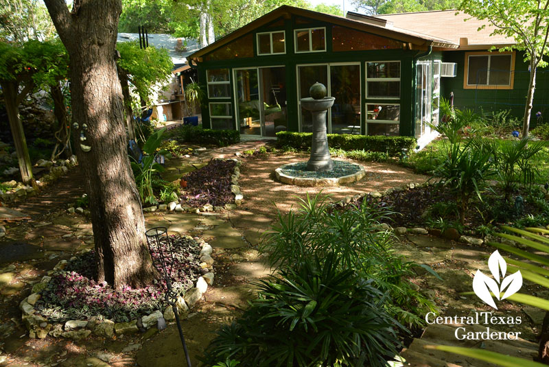 no lawn patio and sculptural fountain Central Texas Gardener