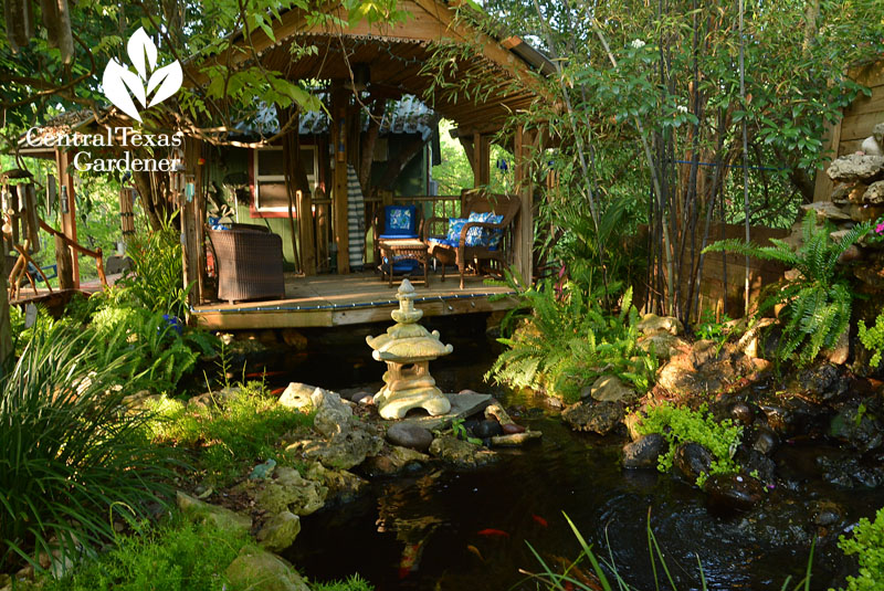 tiki hut palapa and  pond Central Texas Gardener